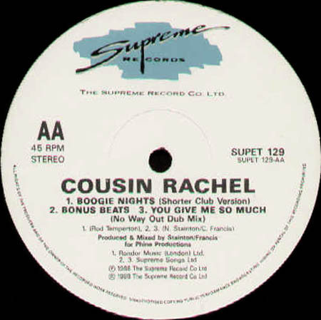 COUSIN RACHEL - Boogie Nights