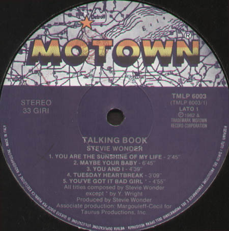 Stevie Wonder Talking Book Motown Vinyl Lp Tmlp 6003