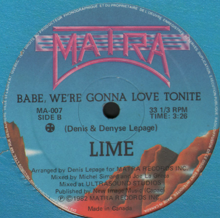 LIME Babe, We're Gonna Love Tonite Matra Vinyl 12 Inch MA-007