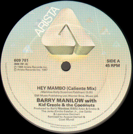 BARRY MANILOW WITH KID CREOLE AND THE COCONUTS - Hey Mambo