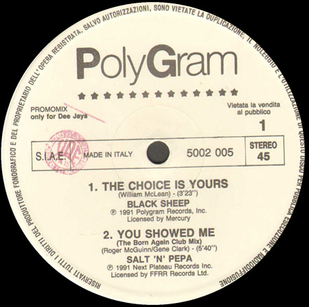 BLACK SHEEP / SALT 'N' PEPA / EXTORTION,FEAT. DIHAN BROOKS - The Choice Is Yours / You Showed Me / How Do You See Me Now? (Joey Negro's Remix)