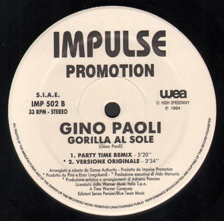 GINO PAOLI - Gorilla Al Sole - 12 inch x 1
