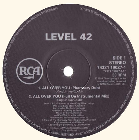 LEVEL 42 - Forever Now / All Over You
