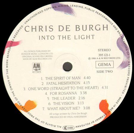 Chris De Burgh Into The Light A Amp M Vinyl Lp 395 121 1