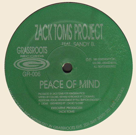 ZACK TOMS - Peace Of Mind, Feat. Sandy B.