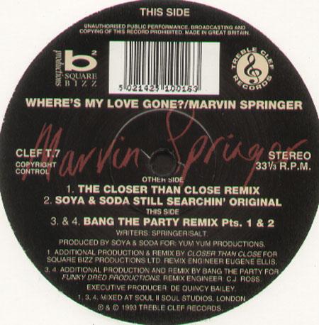Marvin springer where 39 s my love gone treble clef vinyl 12 - My love gone images ...