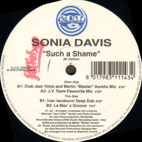 SONIA DAVIS Such A Shame Source Of Music Vinyl 12 Inch SOM 002