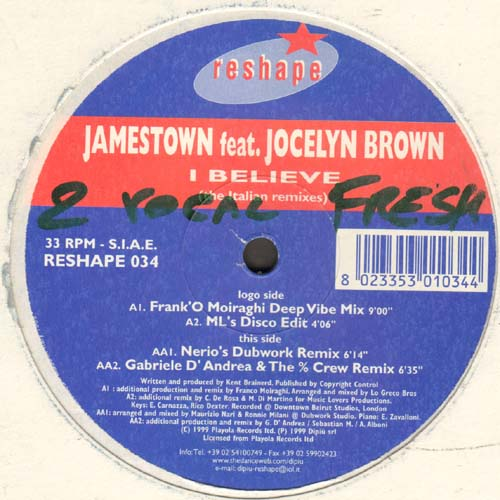 JAMESTOWN - I Believe, Feat. Jocelyn Brown (The Italian Remixes)