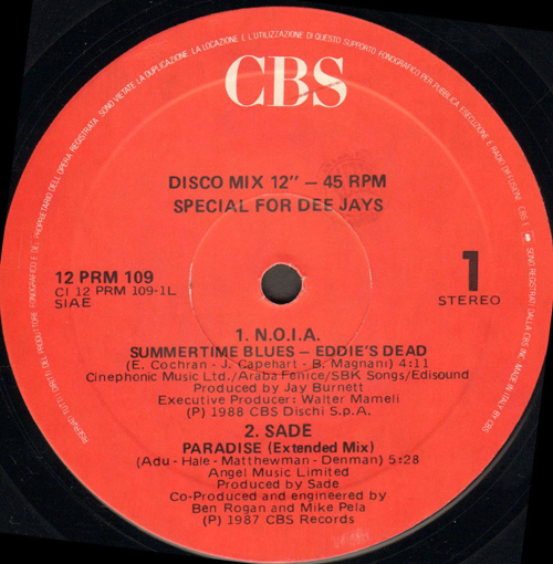 VARIOUS (N.O.I.A. / SADE / TRACY SPENCER) - For Dee Jays 109 (Summertime Blues / Paradise / Two To Tango Too)