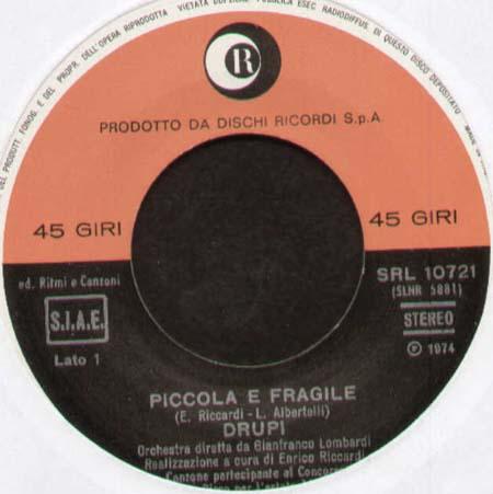 Drupi Piccola E Fragile Che Estate Ricordi Vinyl 7 Inch