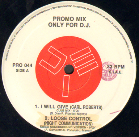 VARIOUS (CARL ROBERTS / NIGHT COMMUNICATION / NIGHT FLOWERS) - Promo Mix 44 (I Will Give / Loose Control / Night Clerk / I Know)