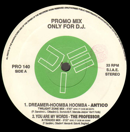 VARIOUS (ANTICO / THE PROFESSOR / CLOCK / X-MAXX) - Promo Mix 140 (Dreamer-Hoomba Hoomba / You Are My Words / Holding On 4 You / Relax Again) - 12 inch x 1