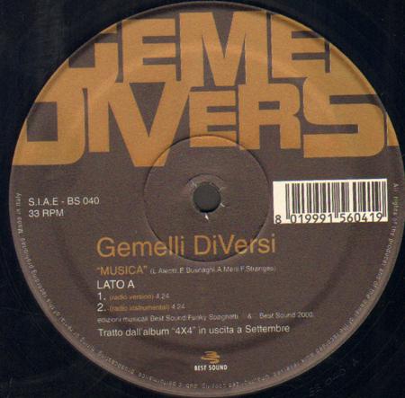 Gemelli diversi musica best sound vinyl 12 inch bs 040 - Musica gemelli diversi ...